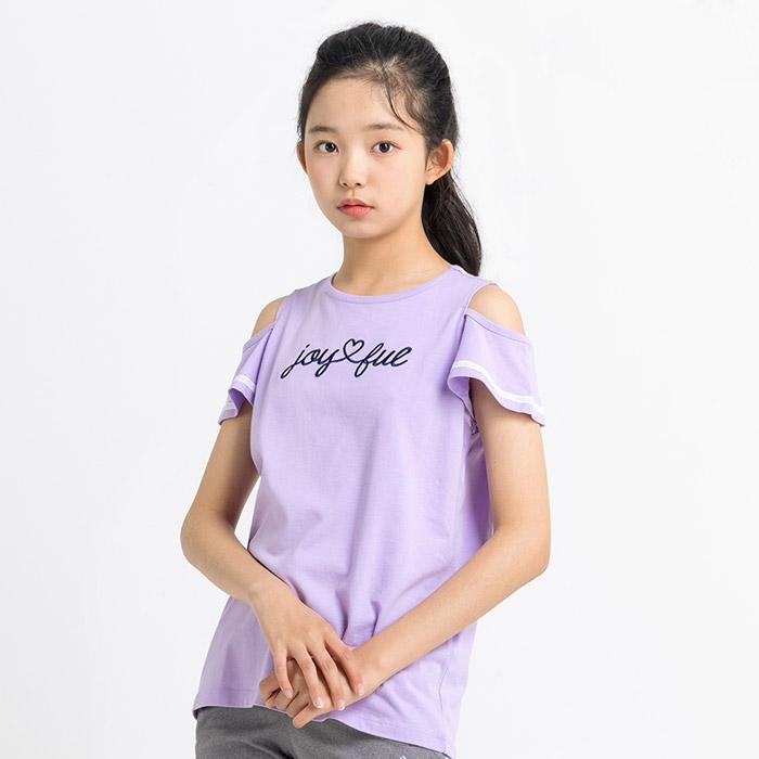 오프숄더 어깨트임 프릴 티셔츠