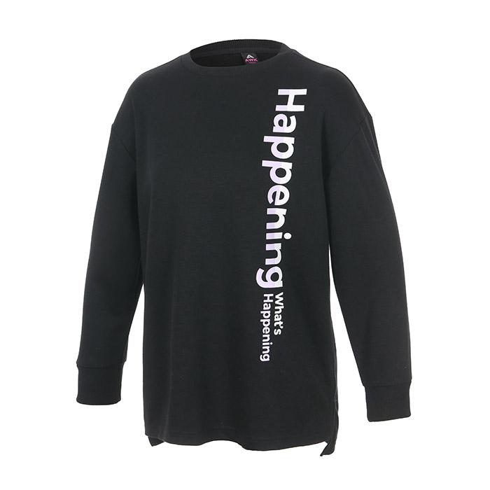 컬러풀 빅레터링 라운드 롱 티셔츠