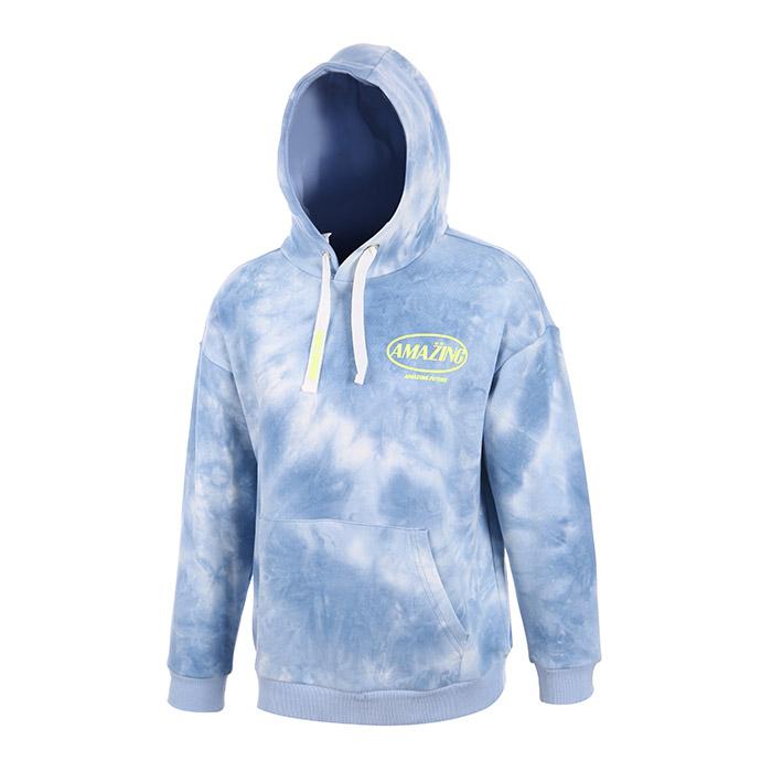 라이트블루 물나염 쭈리 후드티셔츠