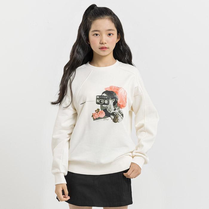 빈티지 프린팅 절개 맨투맨 티셔츠
