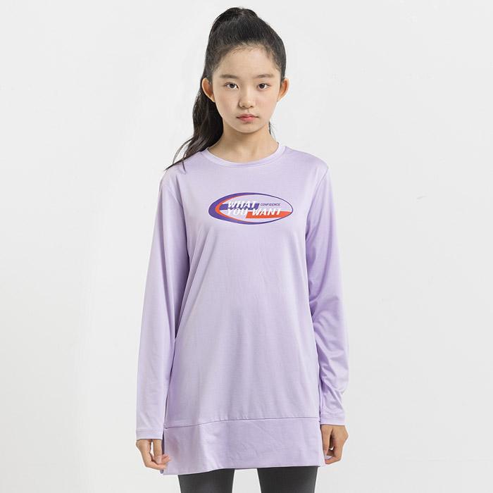 원트 밑단 슬릿 스판 롱 티셔츠