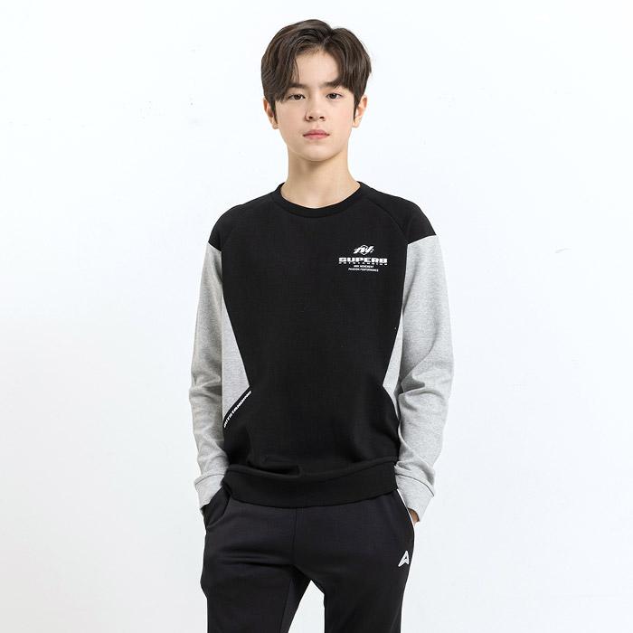 사선절개 배색 맨투맨 티셔츠